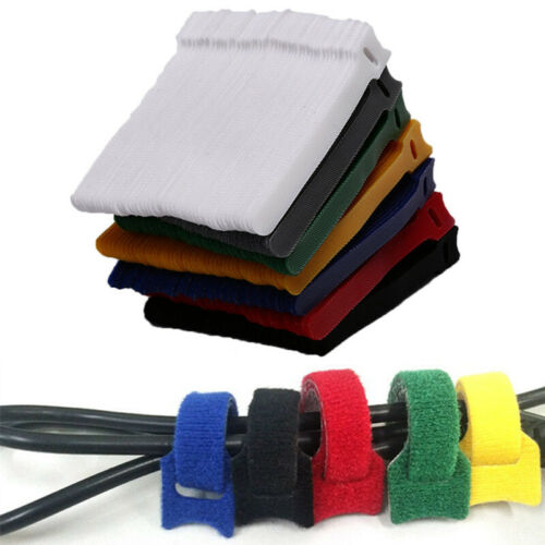 50pcs Reusable Nylon Strap Hook and Loop Cable Cord Ties Tidy Organiser Dura WT