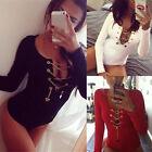 Zanzea Women Long Sleeve Deep V Lace Up Bodysuit Bandage Jumpsuit Romper Shirt