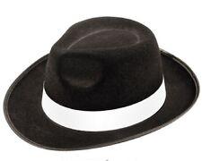 Adulti Nero Gangster Cappello Feltro BORSALINO Fedora Al Capone Costume MAFIA ITALIANA