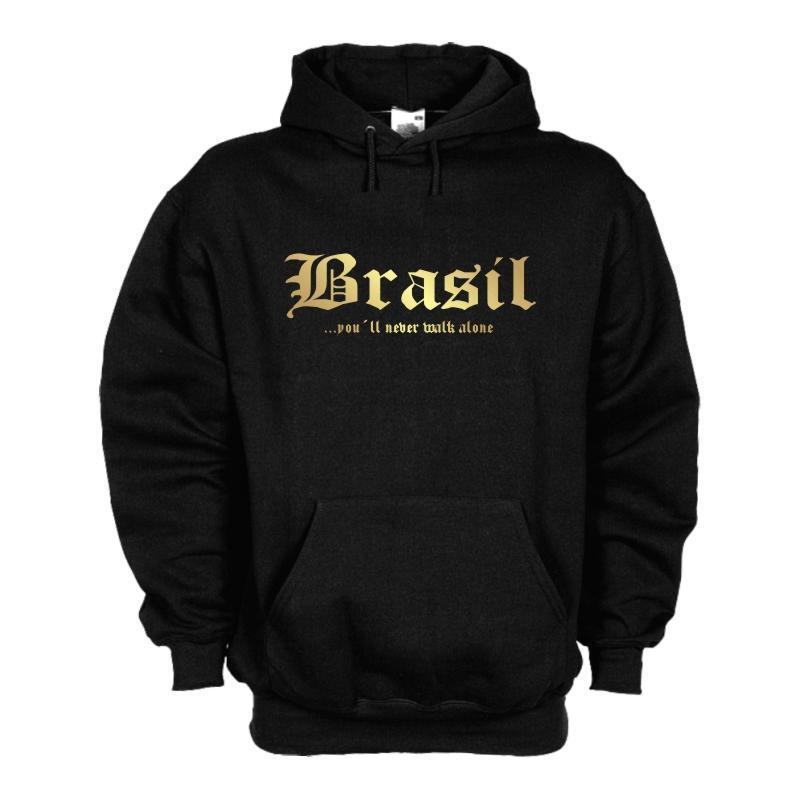 Kapuzensweat BRASILIEN (Brasil) never walk alone, Kapuzenpulli, Hoodie WMS01-12d