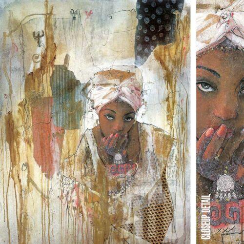 "28W/""x36H/"" SECRETS KEPT by MARTA WILEY ETHNIC AFRICAN AMERICAN HAIR WRAP CANVAS"