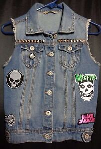 Denim Misfits Punk About Small Vest Details Rock Jacket Womens Jean Patches Metal MzVGpLqSU