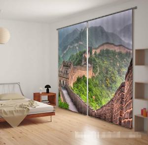3D Gran Muralla 7 Cortinas de impresión de cortina de foto Blockout Tela Cortinas Ventana CA