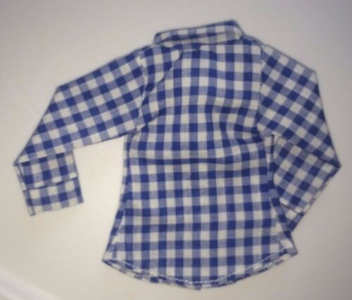 """NAVY BLUE AND WHITE CHECK BLOUSE Fits 11.5-12/"""" Candi Barbie size dolls NEW"""