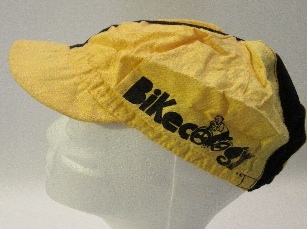 Vintage Rare Classic Yellow BIKECOLOGY Eroica  Cycling Cap from the 70's hat  just buy it