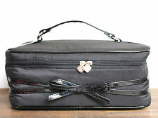 LARGE LANCOME PARIS BLACK NYLON BOW DECOR ZIP MAKEUP PURSE CASE COSMETIC BAG