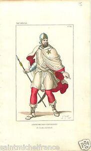 Ordre-Etoile-chevalerie-Chivalric-star-REHAUSSE-AQUARELLE-GRAVURE-OLD-PRINT-1834