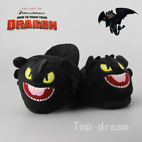 New Dreamworks How to Train Your Dragon Night Fury Toothless Soft Plush Slippers