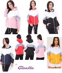 Womens-Ladies-Colour-Block-Windbreaker-Contrast-Festival-Hooded-Jacket-Coat-Top