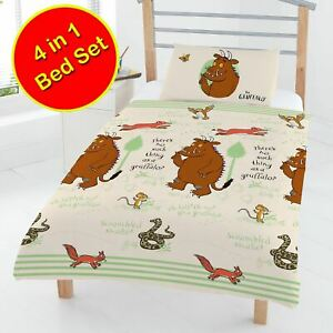 Gruffalo-Foret-4-IN-1-Junior-Literie-Paquet-Couverture-et-Oreiller-Housse-Neuf