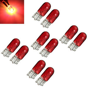 10pcs-Red-T10-501-W5W-Wedge-Interior-Car-Side-Light-Dashboard-Panel-Gauge-Bulb