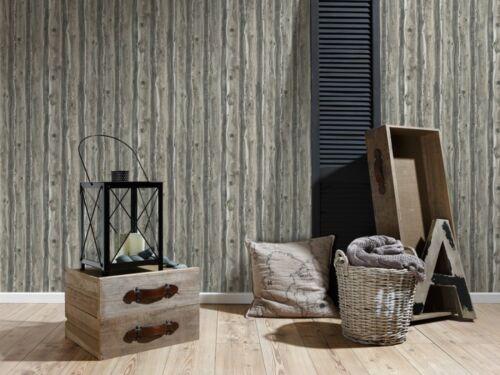 Wood Wallpaper Wooden Effect Grain Panel Distressed Realistic Grey Beige