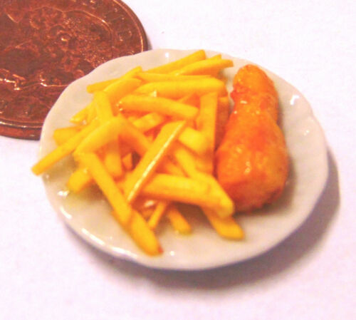 1:12 Scale Hand Made Fish /& Chips On A 2.5cm Ceramic Plate Tumdee Dolls House