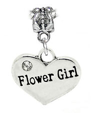 Flower Girl Wedding Party Gift Heart Dangle Bead fits European Charm Bracelets