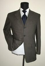Canali three button side vent cashmere silk brown check jacket sport coat ~ 36 S