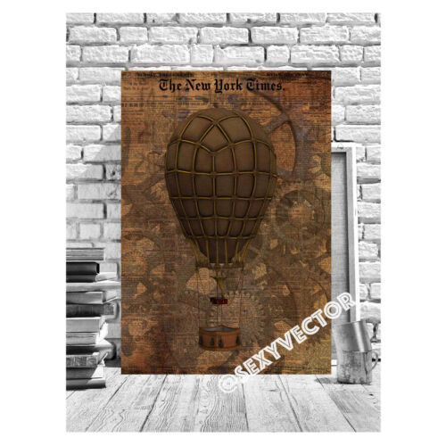 STEAMPUNK Air Balloon Canvas Picture Time Travel Vintage Industrial Wall Art #12