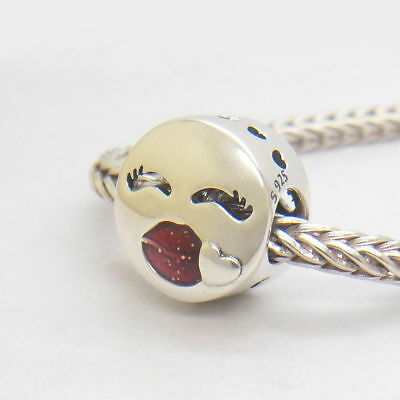 Authentic Genuine Sterling Silver Kiss More Red CZ Charms Valentine/'s Day Gift