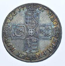 1707 Corona, Plain ángulos, británico moneda de plata de Anne f/Condición bastante buena