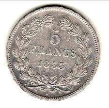 LOUIS PHILIPPE LAUREE 5 FRANCS 1833 W TTB  a  SUP