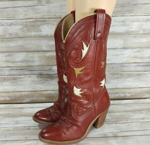 45f610fe18d Details about Vintage Dingo Women's Cowboy Cowgirl Western Red Boots Cut  Out Leather Size 6.5M