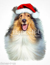 Sable Collie Santa Hat Christmas Dog Art Greeting Note Cards Set of 10