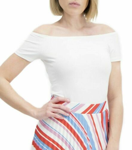 Ladies New Look Shirred short-sleeved Super Stretchy Quality Body Fit Tops White