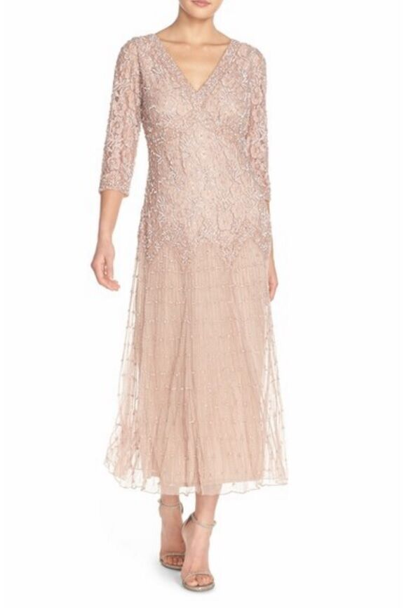 Pisarro Nights Beaded Mesh Drop Waist Dress (Größe 14P)