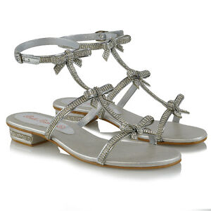 Womens-Flat-Strappy-Sandals-Diamante-Ladies-Party-Sparkly-Silver-Heel-Shoes-Size