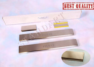Stainless-Steel-Door-Sill-Entry-Guard-Covers-Protector-fit-Chevrolet-Aveo-2011