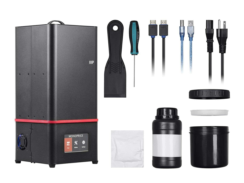 Monoprice 130994 Mini Deluxe SLA Resin UV 3D Printer with New bottle of resin