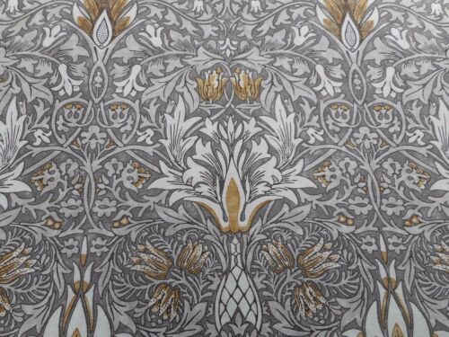 Pewter//Gold Linen 270cm William Morris Curtain Fabric /'Snakeshead/' 2.7 METRES