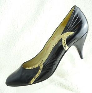 MIKELOS-Leather-Black-Classic-Heels-Pumps-Vintage-Shoes-Size-6N-Made-In-Spain