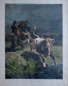 Lithographie-originale-Picador-Romain-Jules-Didier-1867