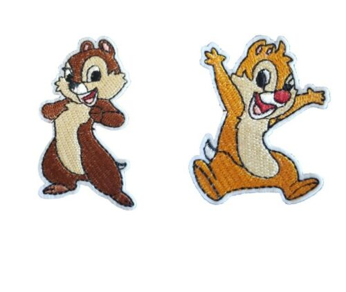 Chip N Dale Iron On Patch Sew On Embroidered Transfer Rescue Rangers