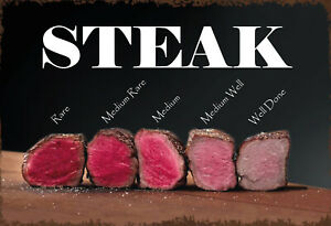 Steak-Rare-Well-Done-Medium-Tin-Sign-Shield-7-7-8x11-13-16in-FA1747