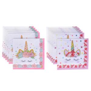 Servilletas-de-papel-Unicornio-6pcs-Decoracion-de-fiesta-de-boda-para-ni-ws