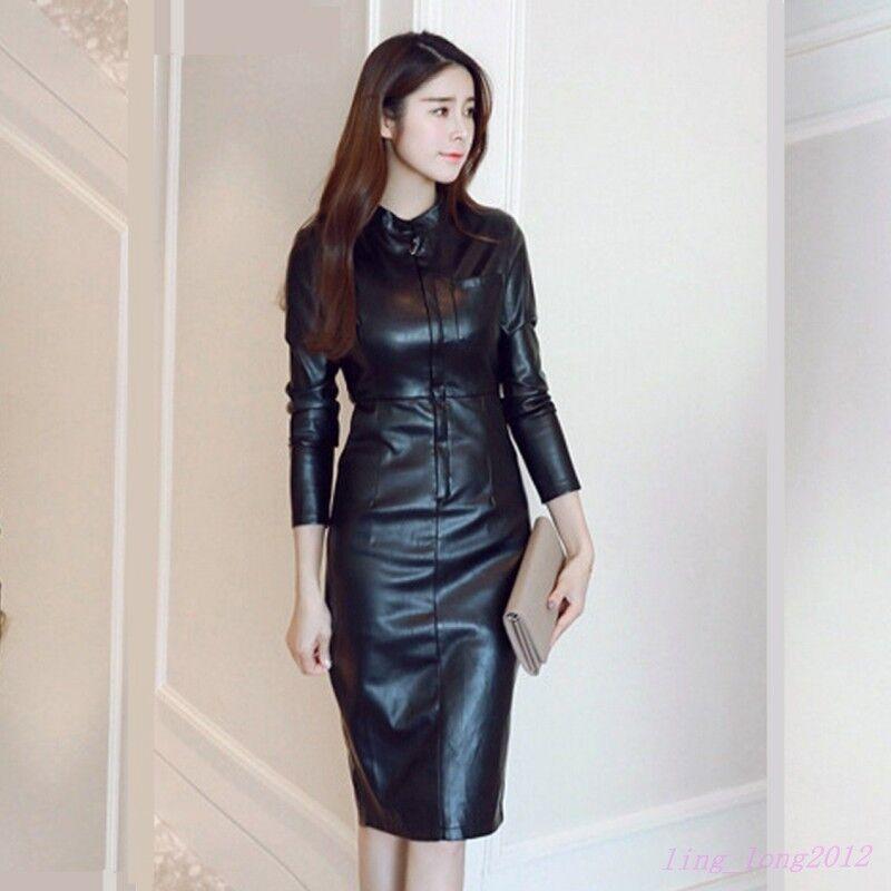 New Womens Leather slim fit dress casual clubwear skinny over knee long US Sz