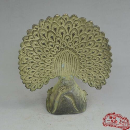 China old Bronze statue decorate Gold gilding Peacock Feng Shui worship gods