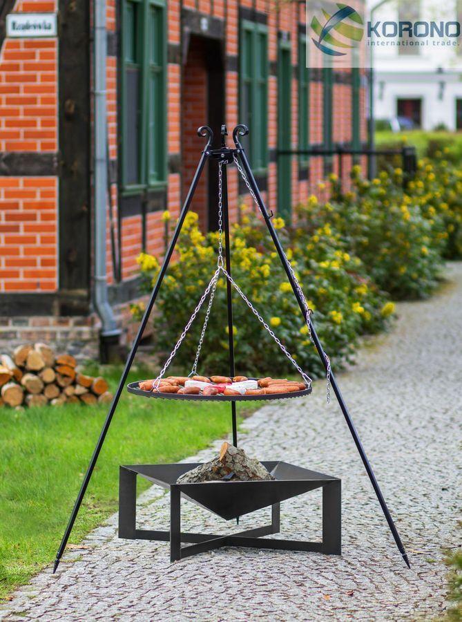 Korono Trípode Parrilla Oscilante 1,8m,Rost Ø 70 cm,Receptáculo de Fuego Ø 70cm,