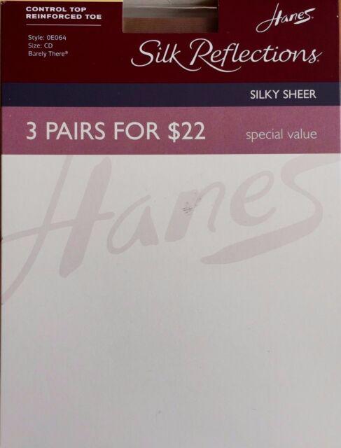 edaa7f24df95f HANES Silk Reflections Silky Sheer Control Top Reinforced Toe JET EF 3  Pairs/Pk
