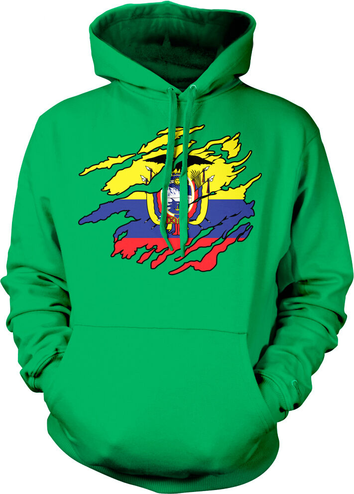 Ecuadorian Flag colors Ecuador Ripped Torn Heritage Team ECU Hoodie Sweatshirt