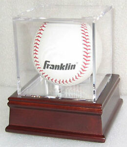 Baseball-Billiards-ball-Holder-Display-Case-Cube-Cherry-Stand-B03-CH