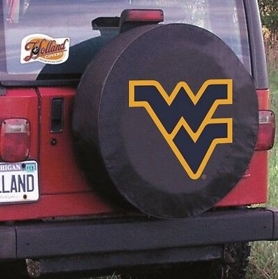 West Virginia University Tire Cover w// Mountaineers Logo on Black Vinyl