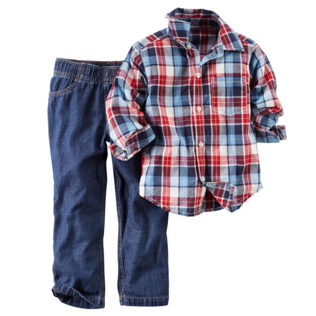 Carters 18 Months Plaid Shirt & Jeans Set Baby Boy Clothes Outfit Blue Cotton