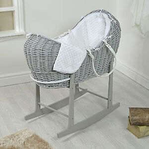 4baby Grey Wicker White Dimple Padded Snooze Pod Moses