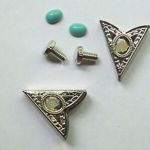 Collar-Tips-Silver-Turquoise-Stone-4prs-Made-in-USA-Western-Square-Dance-Cowboy
