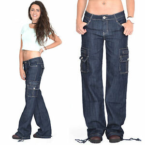 New-Womens-Ladies-Dark-Wash-Wide-Loose-Denim-Cargo-Jeans-Combat-Pants-Trousers