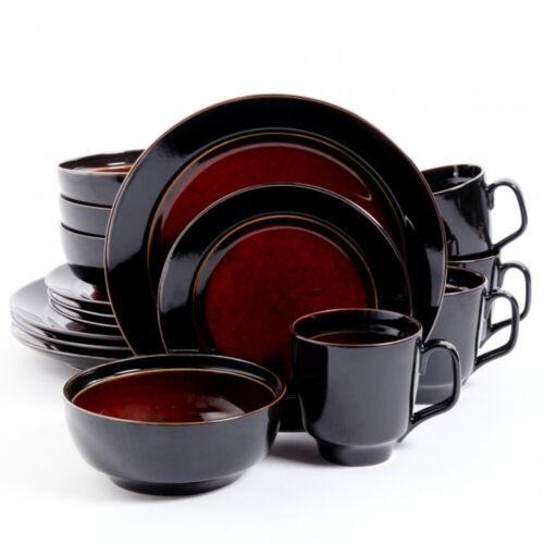 Gibson Elite 92058.16 Bella Galleria 16 Piece Dinnerware Set Red And Black
