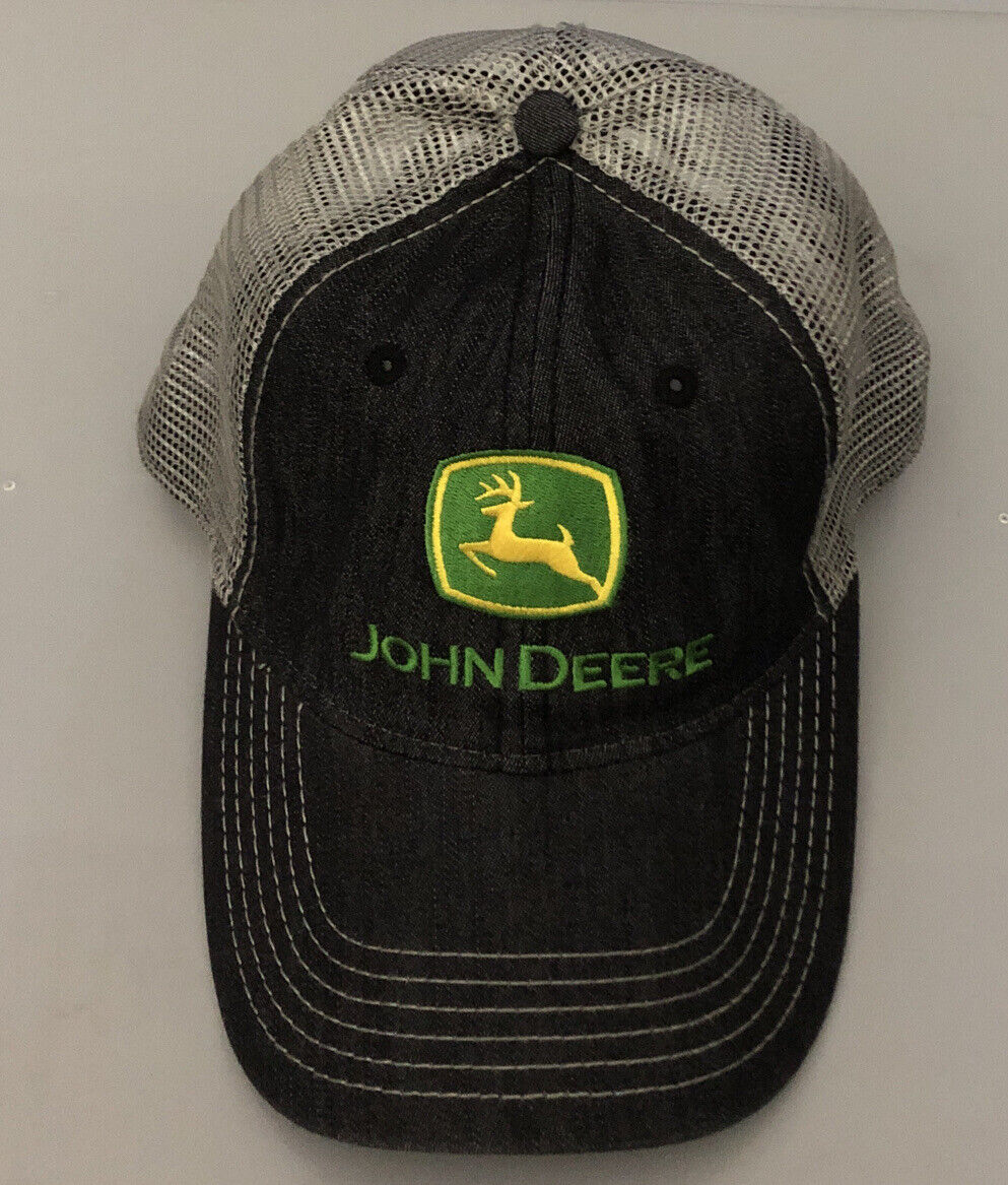 John Deere Charcoal Gray Twill Hat Cap w Yellow Piping Adjustable new licensed