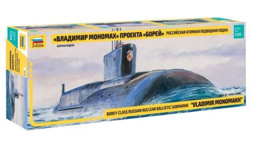 "BOREY-CLASS /""VLADIMIR MONOMAKH/"" NUCLEAR SUBMARINE  ZVEZDA 1//350 PLASTIC KIT"